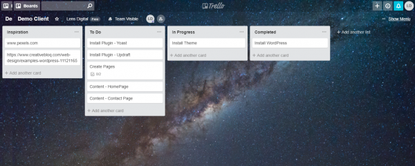 Using Trello to manage a WordPress project