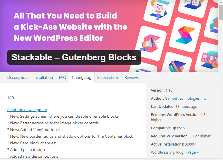 Changelog for Stackable - Gutenberg Blocks