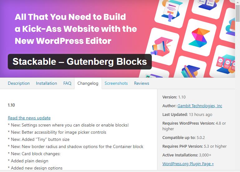 Changelog for Stackable - Gutenberg Blocks