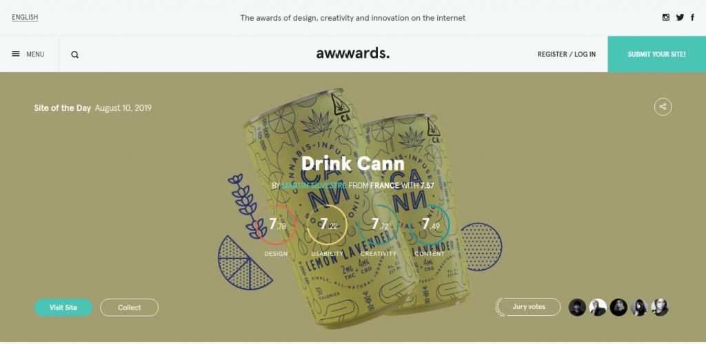 Screenshot of Awwwards website
