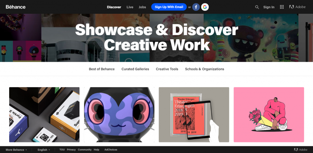 Screenshot of Behance website