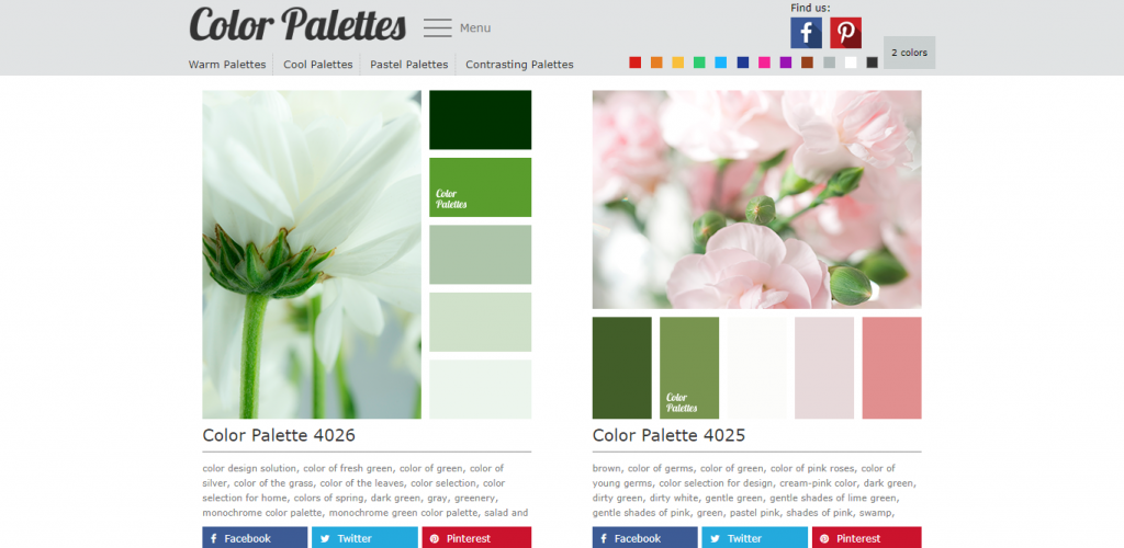 Screenshot of Color Palettes website