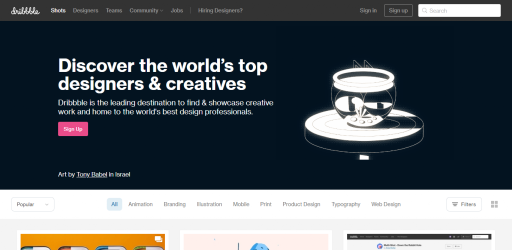 Screenshot for Dribbble website