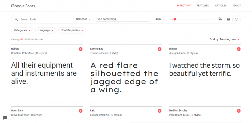 Screenshot of Google Fonts website