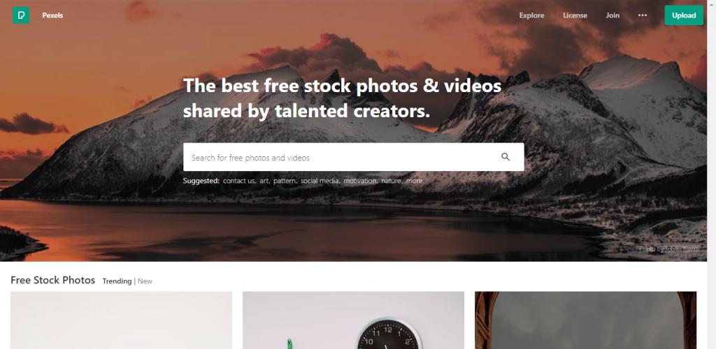 Screenshot of Pexels website