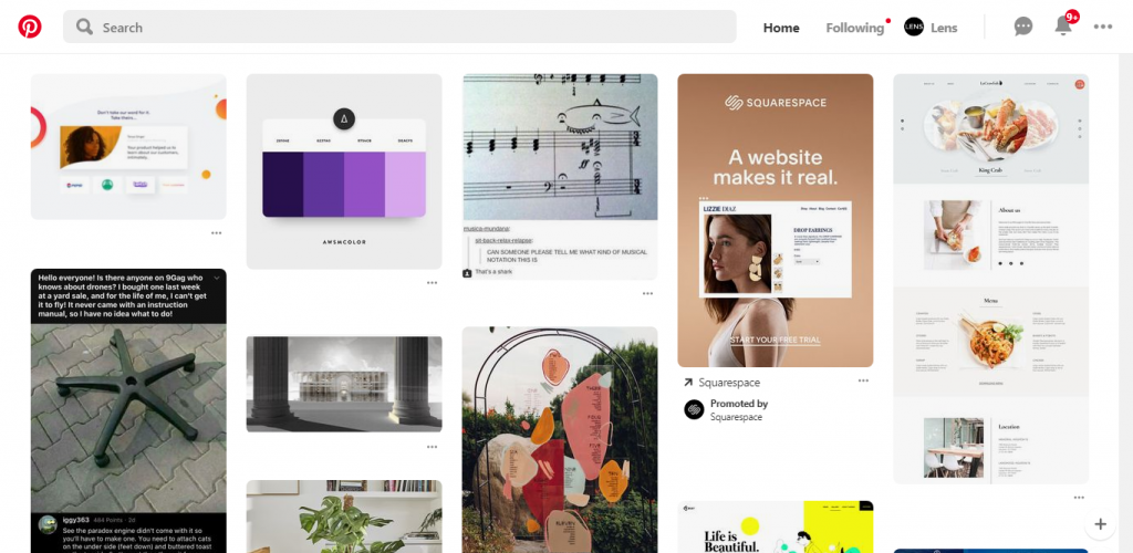Screenshot of Pinterest website