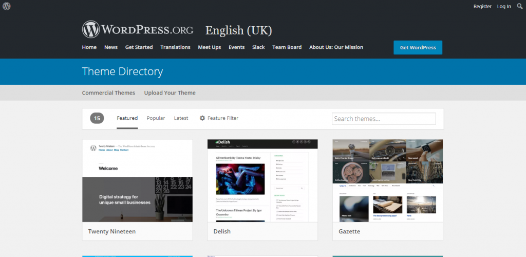 Screenshot of WordPress Themes website