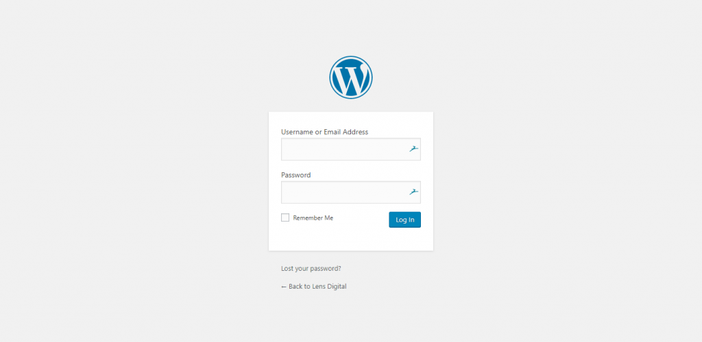 WordPress Admin Area Login Screen